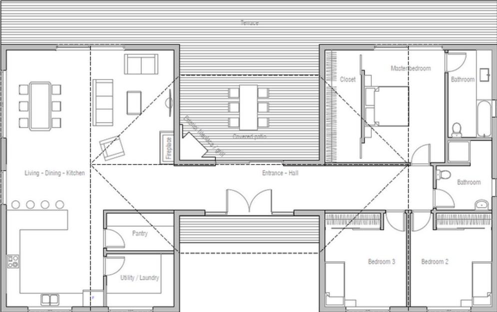Planos de casas circulares de una planta Planos de casas de 3 dormitorios