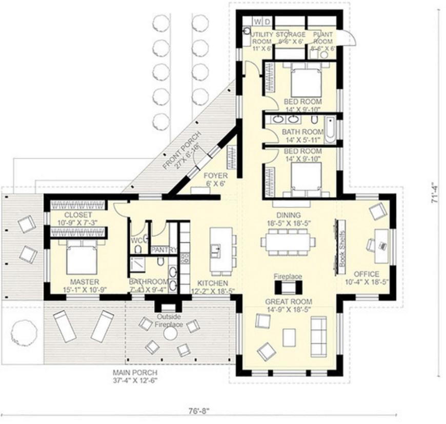 Planos de casas pequenas de una planta con 3 habitaciones - Plantas para dormitorio ...