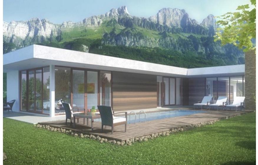 Plano de casa moderna con ventanales for Casas campestres modernas planos
