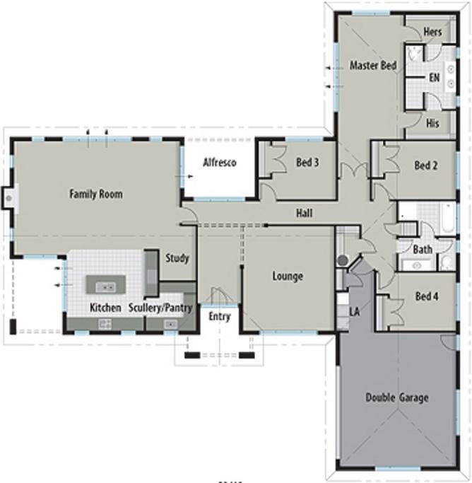 Plano de casa con forma de T
