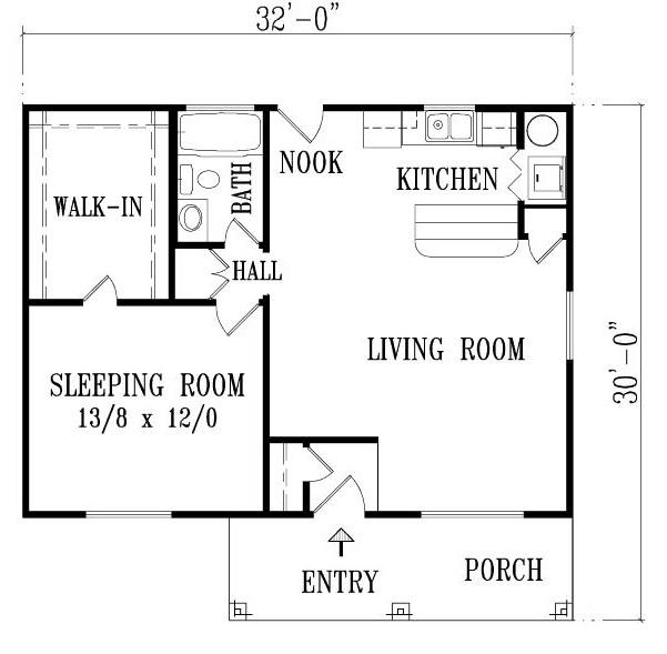 Plano de casa de 1 dormitorios de estilo mexicano
