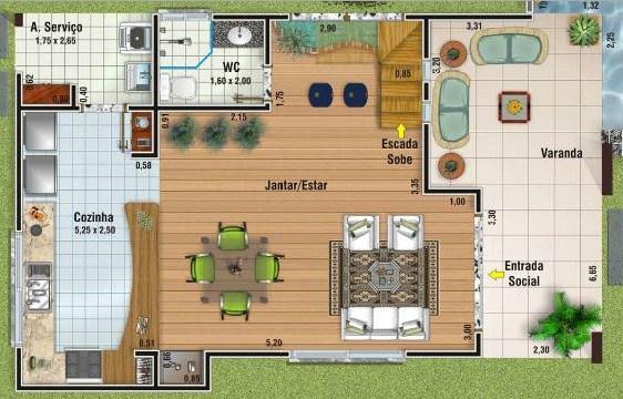 Plano de casa de 2 pisos con medidas en metros for Casas campestres modernas planos