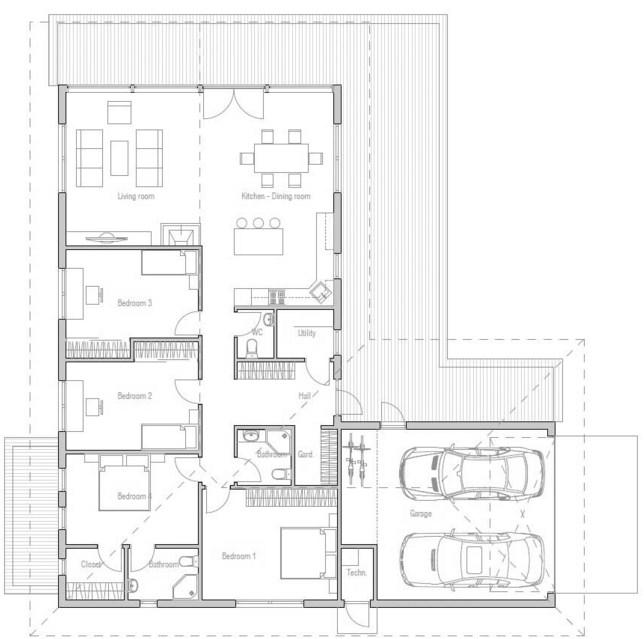Planos de casas en forma de L de una planta