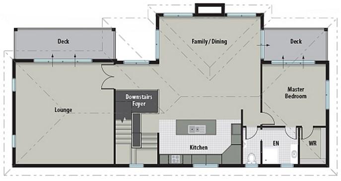 Modelo de casa con balcón de 3 dormitorios