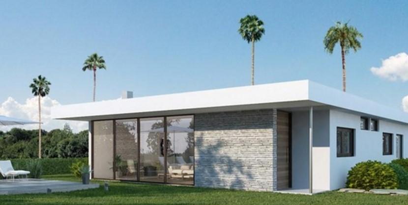 Modelo de casa moderna minimalista y revestida en piedra