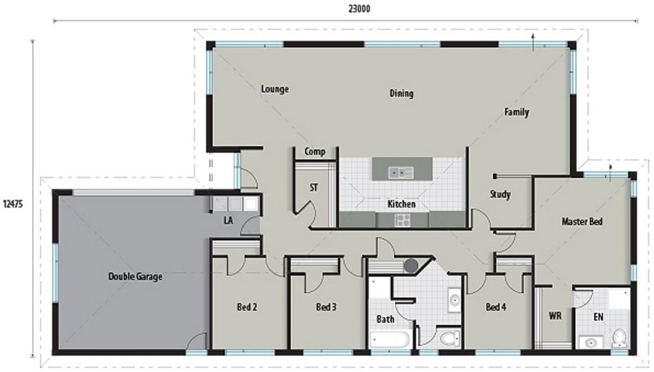 Plano de casa bonito y práctico con 240 metros