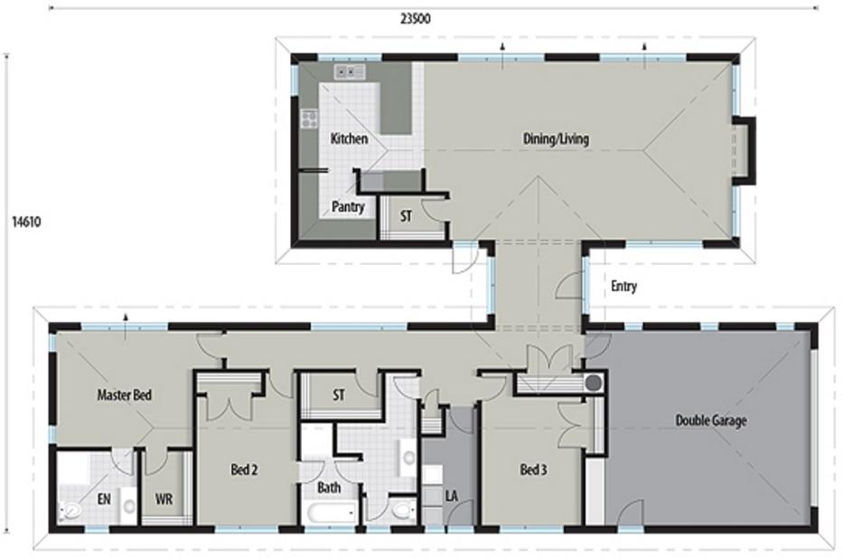 Plano de casa clásica de 240 metros cuadrados