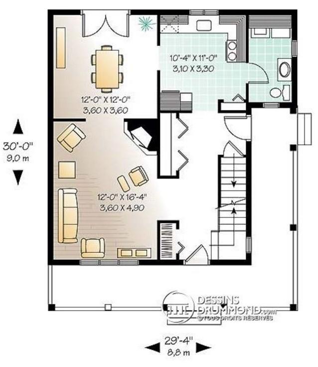Plano de casa con galer a exterior for Planos para remodelar mi casa