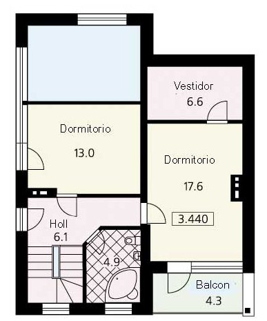 Plano de casa de 2 pisos con medidas en metros