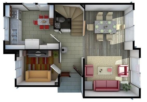 Plano de casa de 3 habitaciones en dos pisos for Casas modernas 3 recamaras
