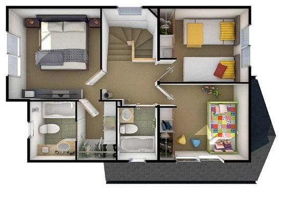 plano de una casa de dos pisos en 3d