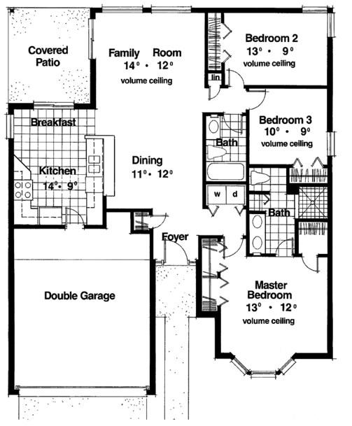 plano de casa de de dormitorios estilo americana