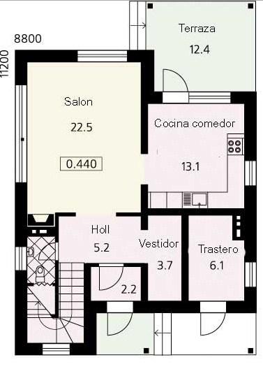 Plano de casa de dos pisos con medidas en metros for Planos de casas con medidas