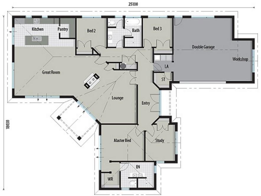 Plano de casa elegante con 3 dormitorios