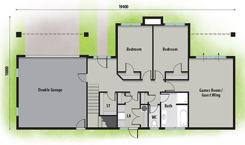 Plano de casa grande de 300 metros cuadrados y 2 pisos