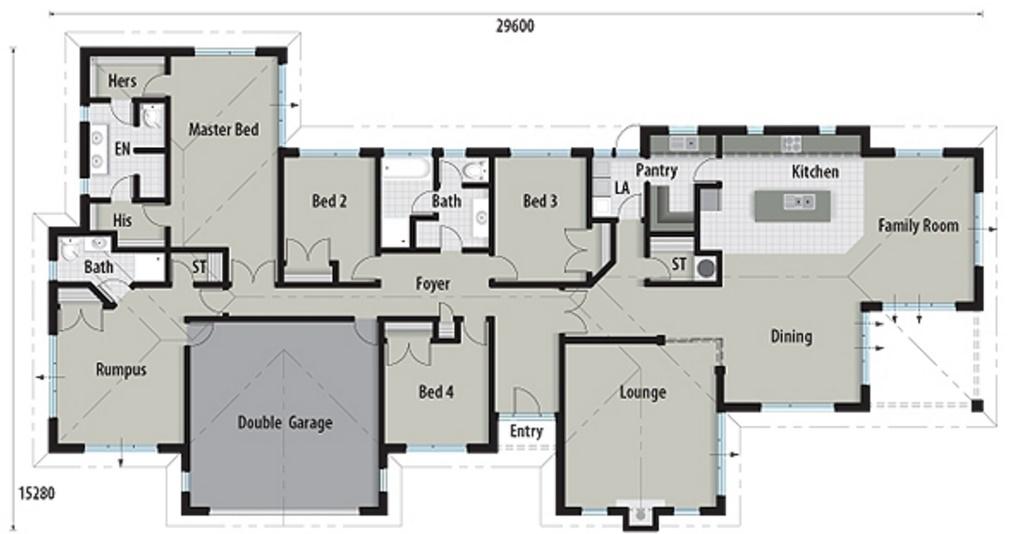 plano de casa grande de 310 metros cuadrados