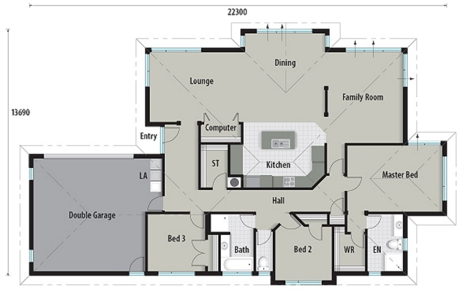 Plano de casa moderna de 230 metros cuadrados