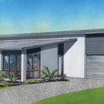 Plano de casa moderna y ancha con 4 habitaciones