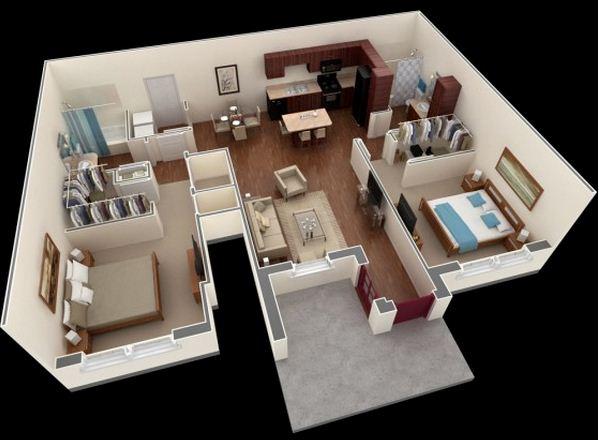 Plano de departamento moderno de 2 baños y 2 dormitorios