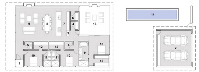 Modelo de casa moderna minimalista y revestida en piedra for Planos casa minimalista 3d