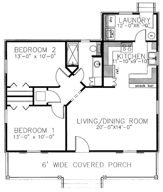 Diseño de casa camprestre de 2 dormitorios