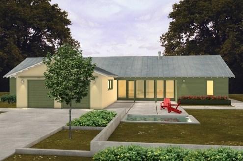 Diseño de casa de tres habitaciones en una planta