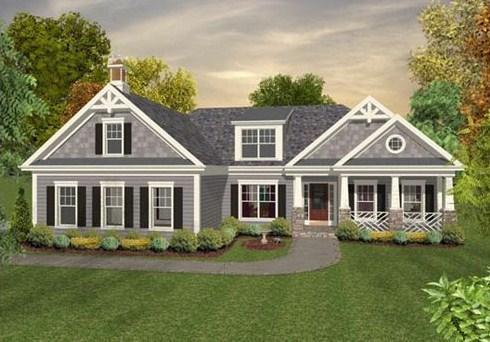Fachada de casa con estanque