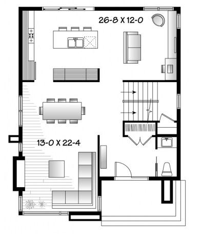 Modelo de casa de 2 pisos y 3 habitaciones