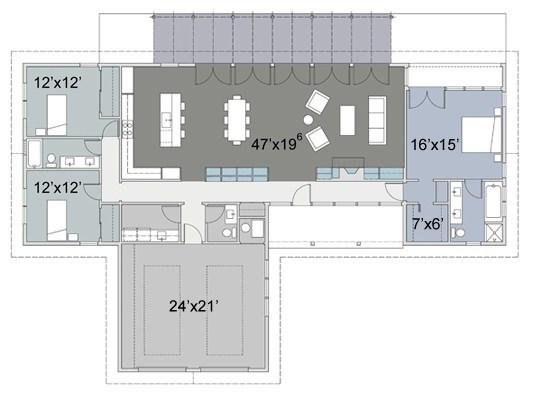 Modelo de casa de tres habitaciones en una planta