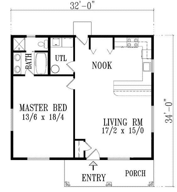 Modelo de casa pequeña de un dormitorio