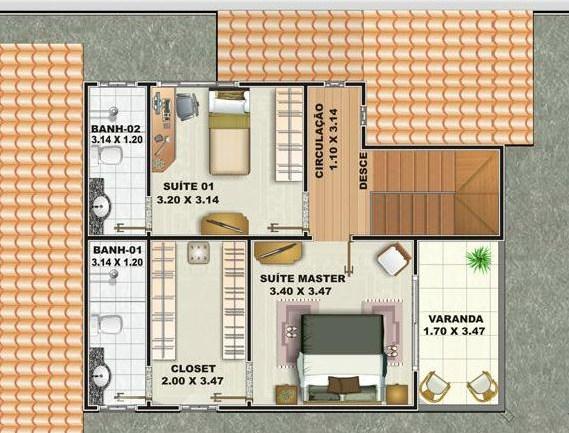 Plano de casa de 2 pisos 3 dormitorios y cochera
