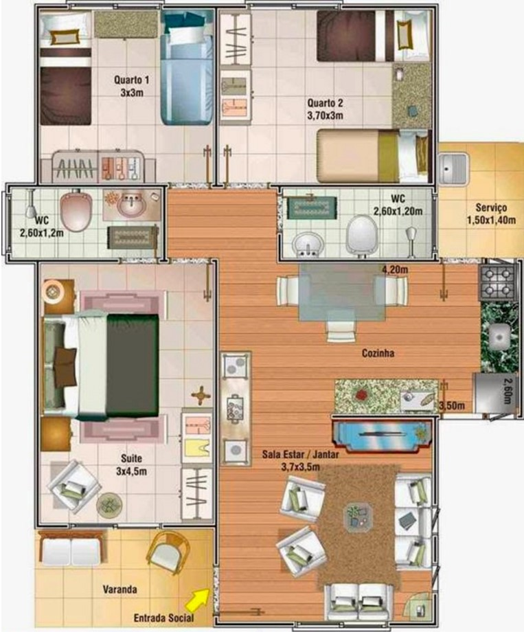 Plano de casa de 70 metros cuadrados con 3 dormitorios