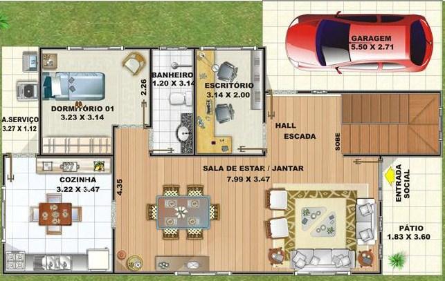 Plano de casa de dos pisos for Planos de casas de dos dormitorios