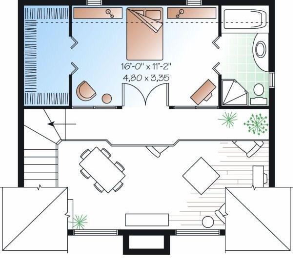 Plano de casa de un dormitorio y 2 pisos