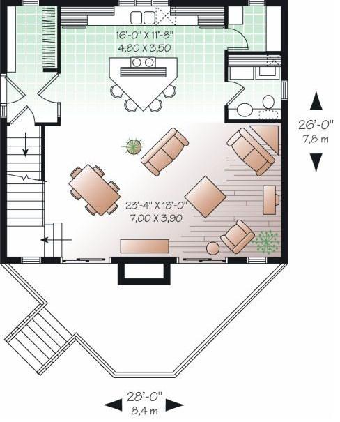 Plano de casa de un dormitorio