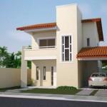 Plano de casa de dos pisos 3 dormitorios y cochera