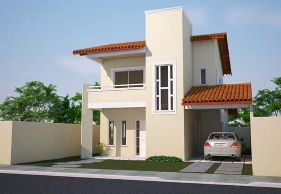 Plano de casa moderna de dos pisos 3 dormitorios y cochera