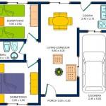Plano de casa prefabricada de 2 dormitorios con cochera