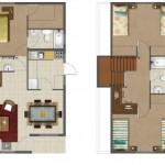 Plano de casa sencilla de 2 pisos