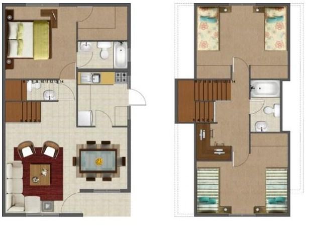 Plano de casa de dos pisos for Planos de casas de 2 pisos