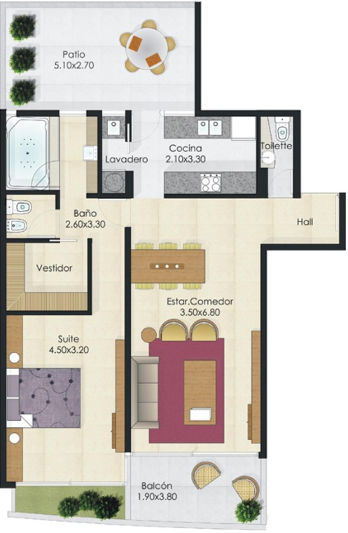 Plano de departamento 2 ambientes