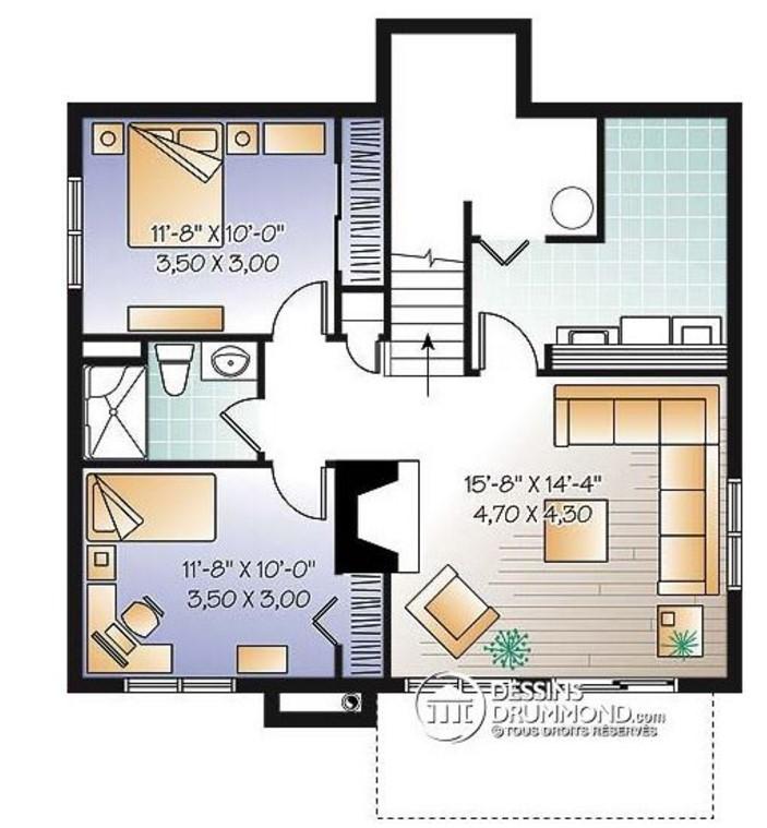 Casa moderna interior en planos for Planos de casa habitacion
