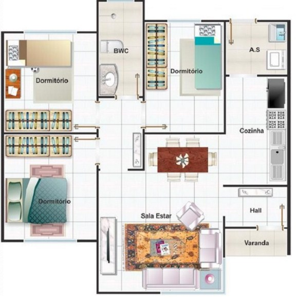 Diseño de casas de un piso 3 dormitorios