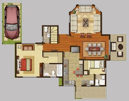 Plano de casa con cuarto de servicio
