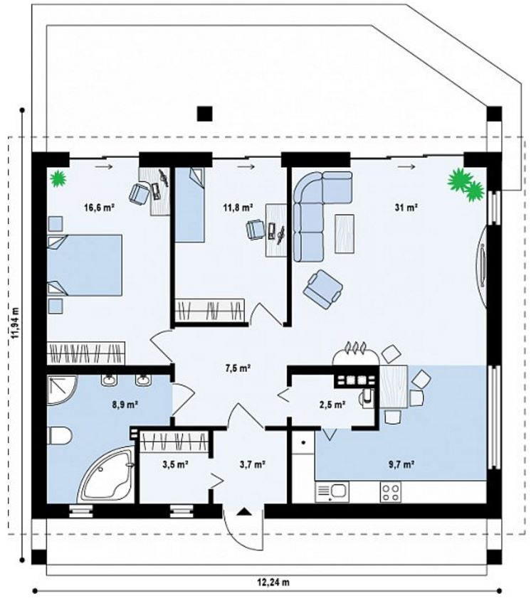 Plano de casa con tejas planas
