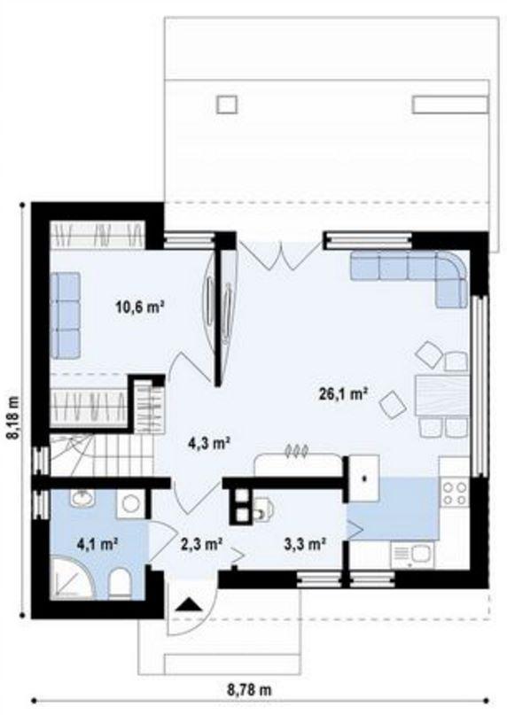 Plano de casa con tejas