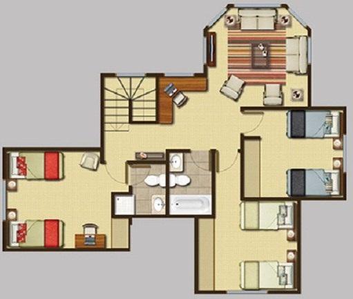 Plano de casa de 2 pisos con cuarto de servicio