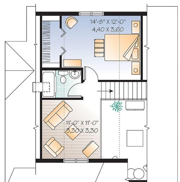 Plano de chalet de 2 pisos y dos dormitorios