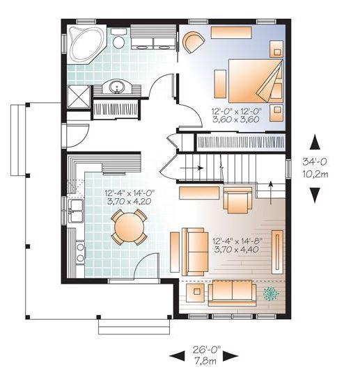 Plano de chalet de dos pisos y dos dormitorios
