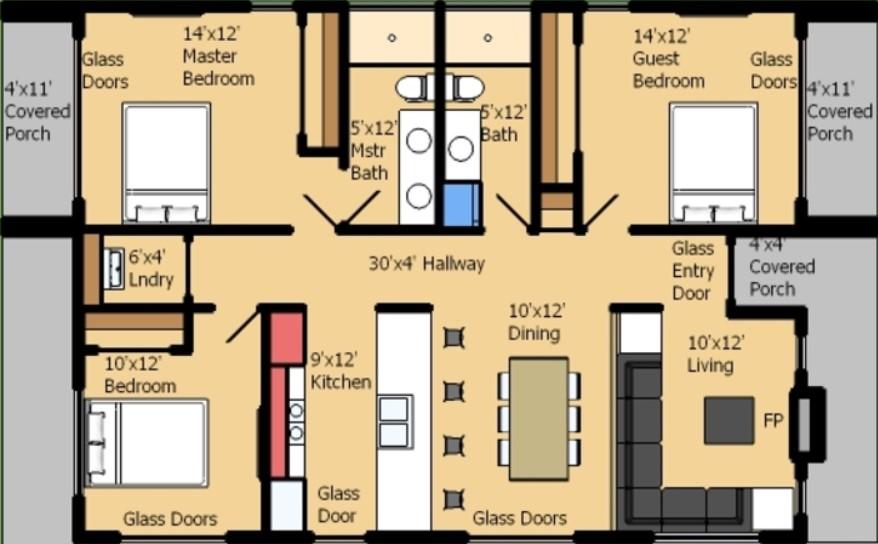 planos de casas pequenas de una planta con 3 habitaciones
